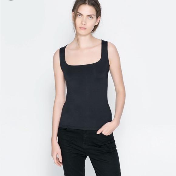 4ce1a975c294c Zara Collection W B Stretch Black Tank Top Size L.  M 5ac0fe963316279bd79b311e